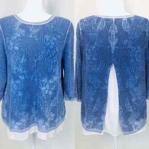 Chico's Split Back Sweater Blue Knit White Layered